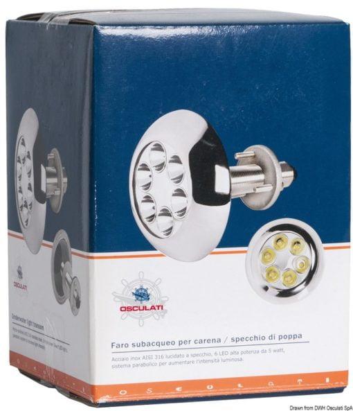 Lampa podwodna do oświetlania podwodzia / pawęży rufowej / trapów - Underwater spot light w/ 6 white LEDs - Kod. 13.284.01 5