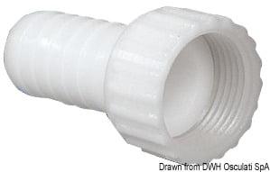 Złączka na wąż do wkręcania od tyłu podtynkowego reduktora ciśnienia, z nylonu w kolorze białym - prosta - Kod. 16.441.08 3