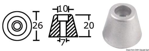 Anoda wymienna turbiny dziobowej/rufowej do Side-Power (Sleipner) - Anodo ric. all. rif.orig. 61180 - Kod. 43.070.21 3