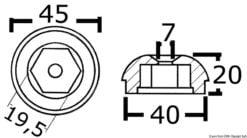Anoda wymienna turbiny dziobowej/rufowej do Side-Power (Sleipner) - Anodo ric. all. rif.orig. 61180 - Kod. 43.070.21 17