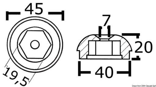 Anoda wymienna turbiny dziobowej/rufowej do Side-Power (Sleipner) - Anodo ric. all. rif.orig. 61180 - Kod. 43.070.21 10