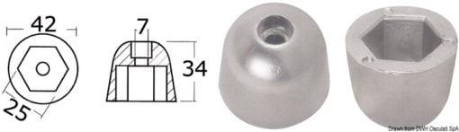 Anoda wymienna turbiny dziobowej/rufowej do Side-Power (Sleipner) - Anodo ric. all. rif.orig. 61180 - Kod. 43.070.21 9