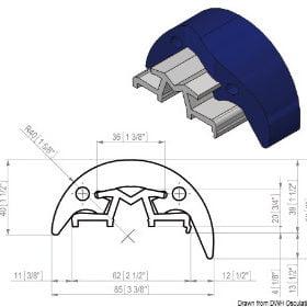Profile odbojowe z PVC i anodyzowanego aluminium